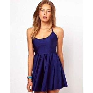 American Apparel Blue Nylon Tricot Skater Dress XS
